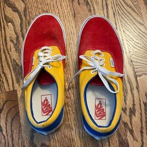 Vans skate shoes red, yellow, blue